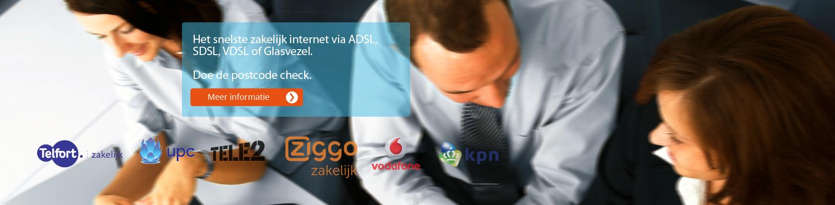 Het snelste zakelijk internet via ADSL, SDSL, VDSL of Glasvezel. Doe de postcode check.
